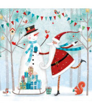 Snowman and santa Christmas card
