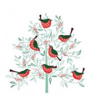 Birds in tree Christmas card