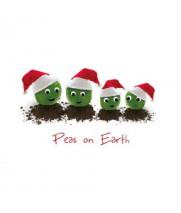 Peas in santa hats Christmas card