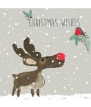 Reindeer and robin Christmas card